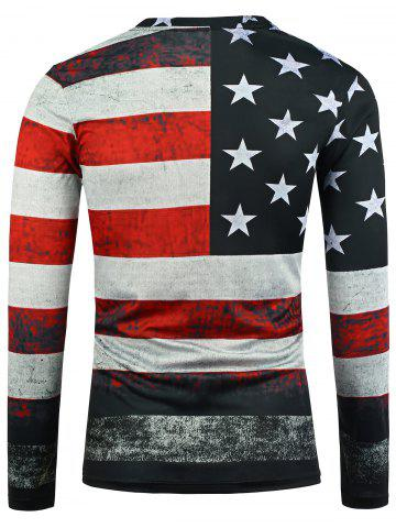Unique Distressed American Flag Long Sleeve T-Shirt - XL COLORMIX Mobile