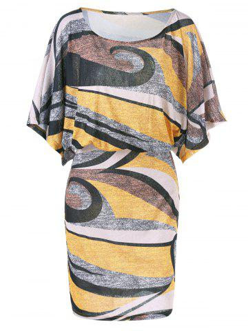 Sale Dolman Sleeve Plus Size Print Blouson Dress - 5XL COLORMIX Mobile