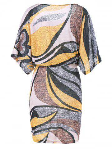 Fancy Dolman Sleeve Plus Size Print Blouson Dress - 5XL COLORMIX Mobile