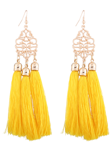Discount Alloy Engraved Tassel Earrings