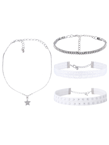 Cheap Rhinestone Star Lace Choker Necklace Set WHITE