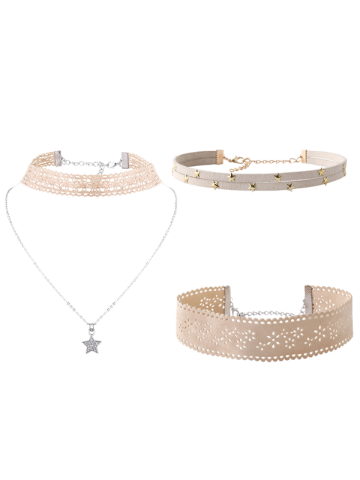 Chic Star Flower Choker Necklace Set OFF WHITE