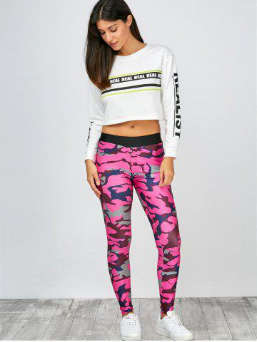 Cheap High Rise Camo Print Leggings - L CAMOUFLAGE ROSE RED Mobile