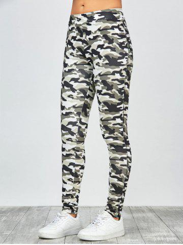 Cheap High Waisted Camo Leggings - M JUNGLE CAMOUFLAGE Mobile