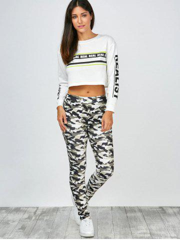 Affordable High Waisted Camo Leggings - L JUNGLE CAMOUFLAGE Mobile