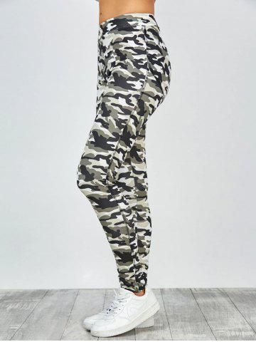 Chic High Waisted Camo Leggings - L JUNGLE CAMOUFLAGE Mobile