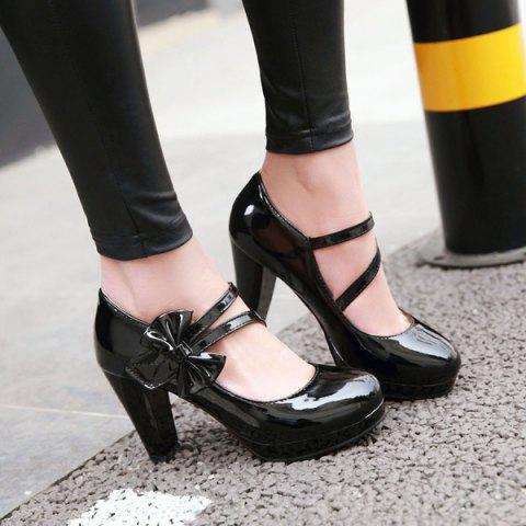 Fashion Block Heel Bowknot Pumps - 37 BLACK Mobile