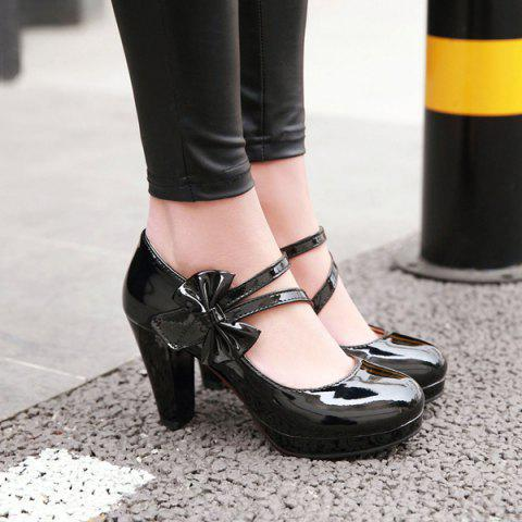 Online Block Heel Bowknot Pumps - 37 BLACK Mobile