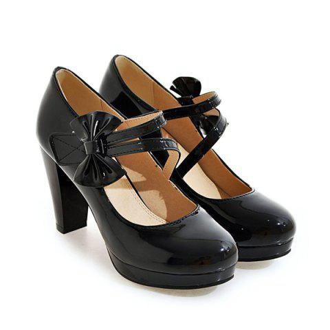 Trendy Block Heel Bowknot Pumps - 37 BLACK Mobile