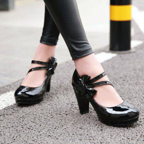 Cheap Block Heel Bowknot Pumps - 37 BLACK Mobile