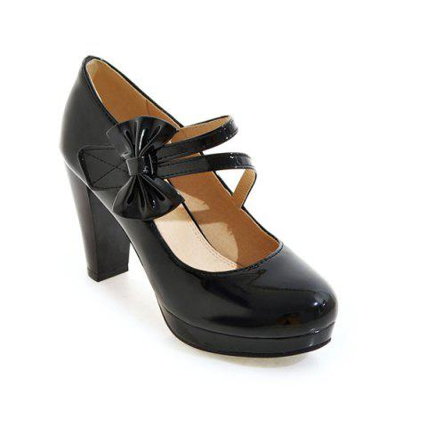 Buy Block Heel Bowknot Pumps - 37 BLACK Mobile