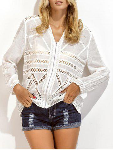 Hot Embroidered Crochet Insert Zip Up Eyelet Blouse