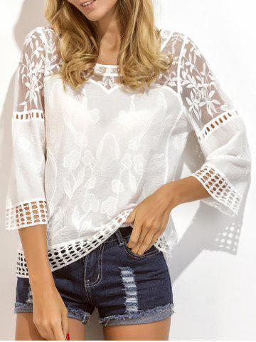 Cheap Lace Insert Embroidered Crochet Eyelet Blouse