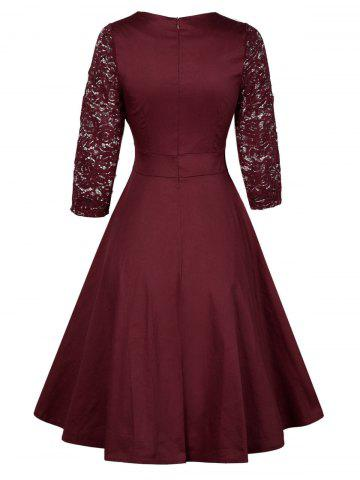 Discount Vintage Lace Insert Pin Up Dress - L WINE RED Mobile
