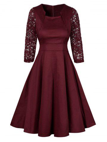 Discount Vintage Lace Insert Pin Up Dress - XL WINE RED Mobile