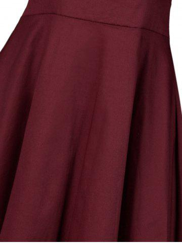 Trendy Vintage Lace Insert Pin Up Dress - 2XL WINE RED Mobile