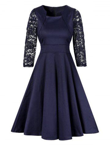 Unique Vintage Lace Insert Pin Up Skater Dress