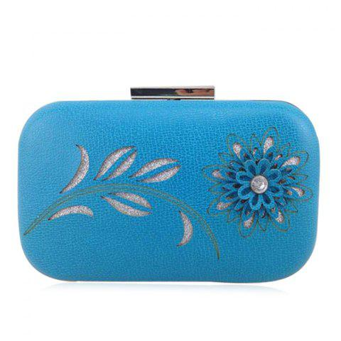Best Chains Flower Hollow Out Evening Bag - BLUE  Mobile