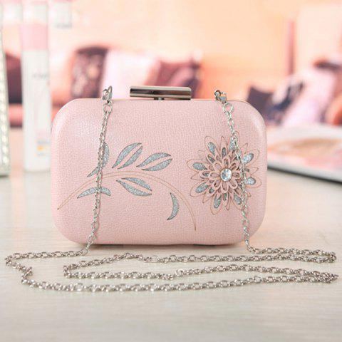 Shops Chains Flower Hollow Out Evening Bag - PINK  Mobile