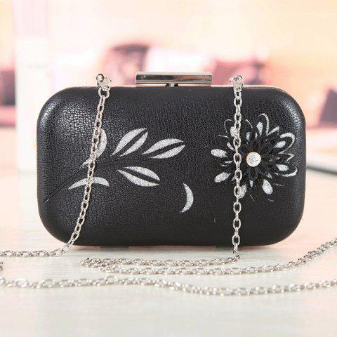 Outfit Chains Flower Hollow Out Evening Bag - BLACK  Mobile