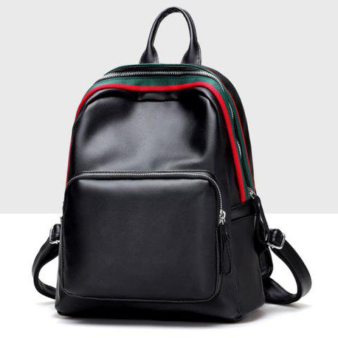 Shops Faux Leather Zipper Front Pocket Backpack - BLACK  Mobile