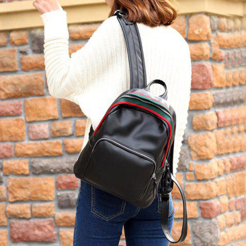 Fashion Faux Leather Zipper Front Pocket Backpack - BLACK  Mobile