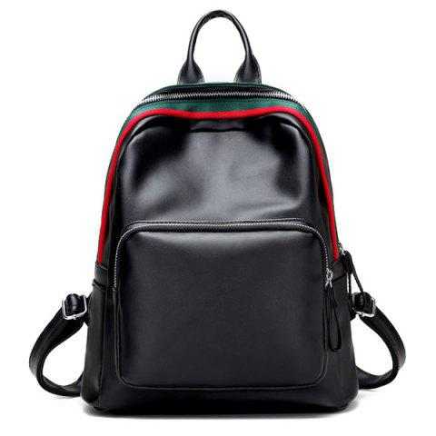 Trendy Faux Leather Zipper Front Pocket Backpack BLACK