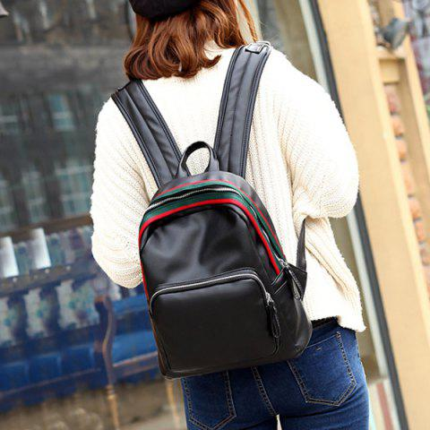 Buy Faux Leather Zipper Front Pocket Backpack - BLACK  Mobile