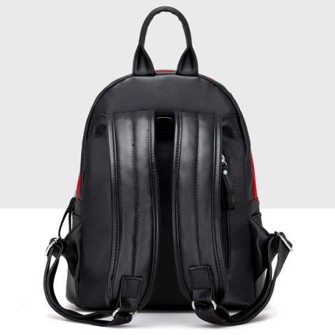 Fancy Faux Leather Zipper Front Pocket Backpack - BLACK  Mobile
