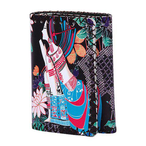 Affordable Tribal Print Whipstitch Wallet - BLACK  Mobile
