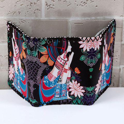 Hot Tribal Print Whipstitch Wallet - BLACK  Mobile