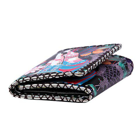 Trendy Tribal Print Whipstitch Wallet - BLACK  Mobile
