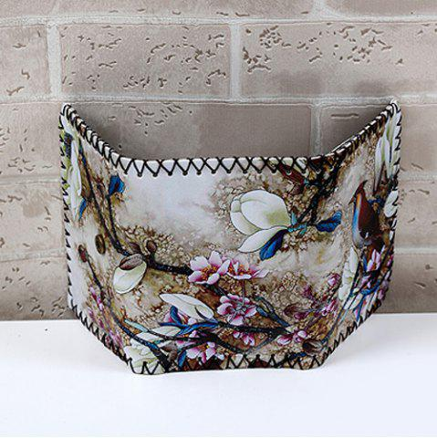 Hot Bird and Flower Print Whipstitch Trifold Wallet - COLORMIX  Mobile