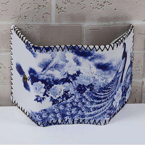 Online Bird and Flower Print Whipstitch Trifold Wallet - BLUE  Mobile