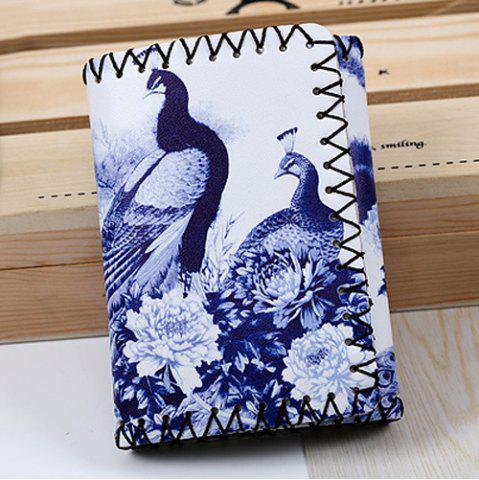 Shop Bird and Flower Print Whipstitch Trifold Wallet BLUE