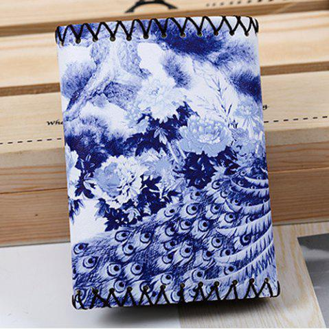 Hot Bird and Flower Print Whipstitch Trifold Wallet - BLUE  Mobile