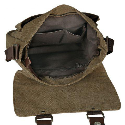 Chic Flap Canvas Distressed Messenger Bag - HORIZONTAL COFFEE Mobile