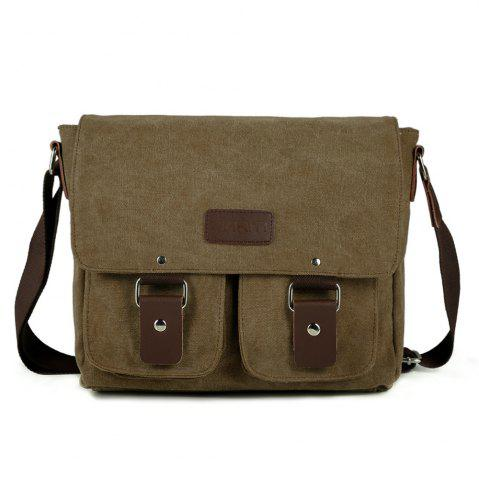 Affordable Flap Canvas Distressed Messenger Bag - HORIZONTAL COFFEE Mobile