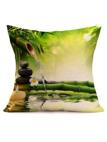 Chic Digital Bamboo Water Stream Print Linen Throw Pillow Case - 43*43CM GREEN Mobile