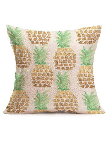 Affordable Pineapple Print Linen Sofa Throw Pillow Case - 43*43CM OFF-WHITE Mobile