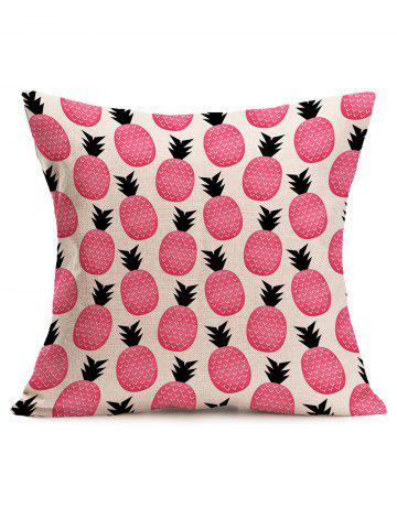 Trendy Cute Pineapple Print Square Linen Throw Pillowcase - 43*43CM PINK Mobile