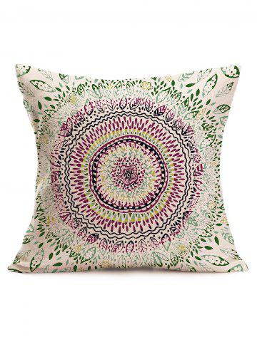 Online Watercolor Ethnic Floral Print Linen Throw Pillowcase - 43*43CM COLORMIX Mobile