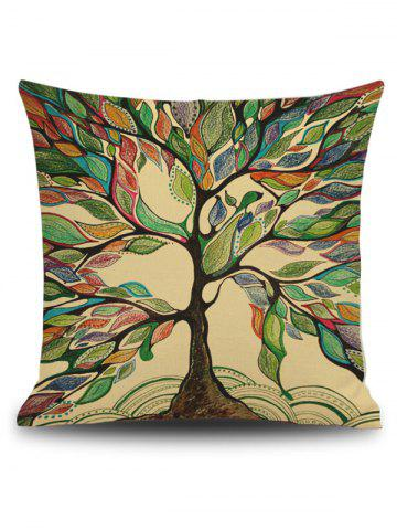 Discount Hand Painted Leaf Tree Print Linen Square Throw Pillowcase - 45*45CM GREEN Mobile