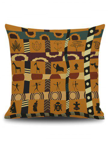 Affordable Indian Print Square Linen Throw Pillowcase - 45*45CM EARTHY Mobile