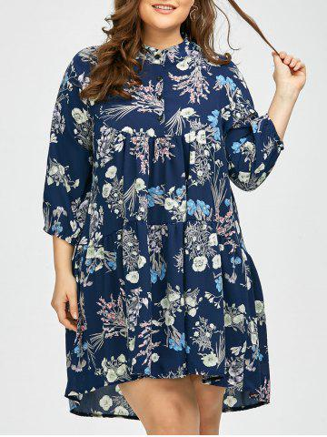 Plus Size Tiny Floral Chiffon Linen Shirt Dress - Blue - 4xl