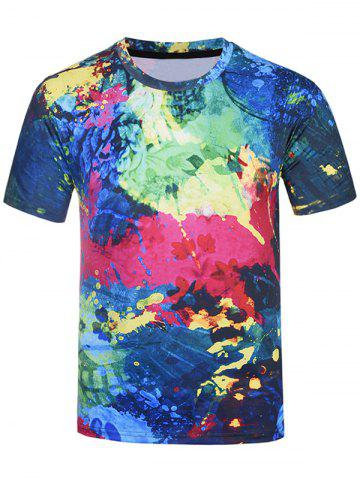 Online 3D Colorful Splatter Paint Tie Dye Print T-Shirt COLORMIX 4XL