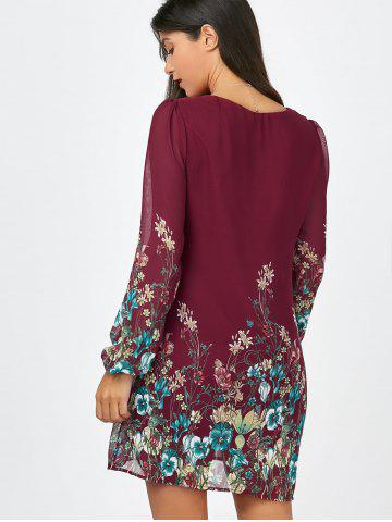 Sale Floral Long Sleeve Chiffon Short Casual Dress - S WINE RED Mobile