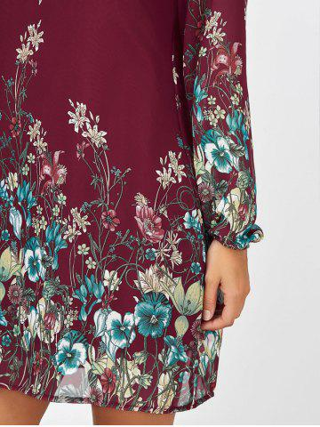 Chic Floral Long Sleeve Chiffon Short Casual Dress - S WINE RED Mobile