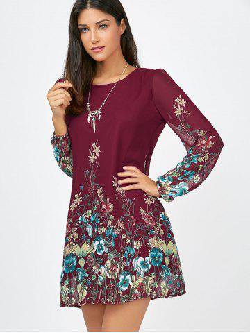 Buy Floral Long Sleeve Chiffon Short Casual Dress - S WINE RED Mobile