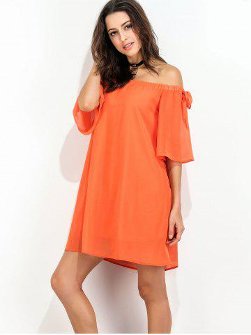 Store Off The Shoulder Bowknot Short Chiffon Dress - S ORANGE RED Mobile